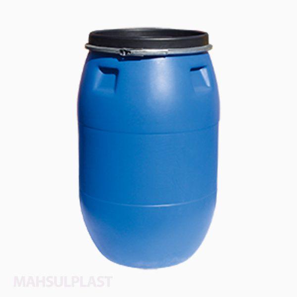 بشکه ۲۲۰ لیتری دهانهگشاد تسمه فلزی